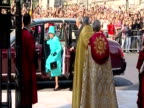Exterior shots of Queen Elizabeth II and Prince Philip arriving at Westminster Abbey for Maundy Thursday service on the same day as her 85th birthday...