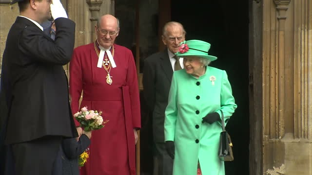 Exterior shots of Queen Elizabeth II departing with Prince Philip Duke of Edinburgh after attending an Easter Sunday service at Windsor Castle on...