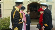 Exterior shots of Queen Elizabeth II inspecting cadets at the Britannia Royal Naval College on April 10 2008 in Dartmouth Devon England