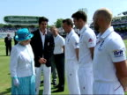 Exterior shots of Queen Elizabeth II meeting the England cricket team introduced to the team by captain Alastair Cook before play on the first day of...