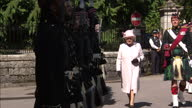 Exterior shots of Queen Elizabeth inspecting the Argyll and Sutherland Highlanders with Major Jason French at the start of her annual Summer visit to...