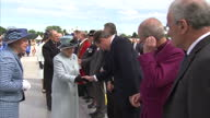 Exterior shots of Queen Elizabeth meeting various people including Prime Minister David Cameron Archbishop of Canterbury Justin Welby before walking...