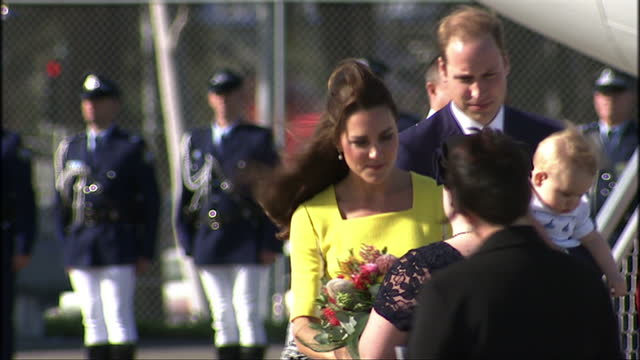 Exterior shots of RAAF plane landing Prince William Catherine Duke Duchess of Cambridge arrive with Prince George greeted by Australian Prime...