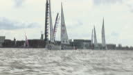 Exterior shots of racing clipper yachts in Liverpool harbour on 20 August 2017 in Liverpool United Kingdom