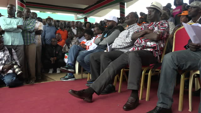 Exterior shots of Raila Odinga Kenyan opposition leader sat on stage during a protest rally on 25 October 2017 in Nairobi Kenya