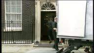 Exterior shots of removal men carrying boxes from Number 10 Downing Street to a waiting lorry as the Blair family move out on June 27 2007 in London...