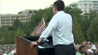Exterior shots of Republican nominee Ted Cruz speaking at a Washington DC rally opposing the US deal with Iran on September 09 2015 in Washington DC
