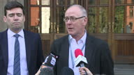 Exterior shots of Richard Leese leader of Manchester City Council giving a statement to the press about the Manchester terror attack on 23rd May 2017...