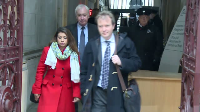 Exterior shots of Richard Ratcliffe accompanied by his father and Tulip Siddiq MP departing from the Foreign and Commonwealth Office and speaking...