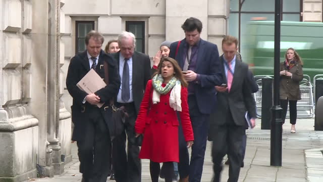 Exterior shots of Richard Ratcliffe accompanied by his father and Tulip Siddiq MP arriving at the Foreign and Commonwealth Office and posing briefly...