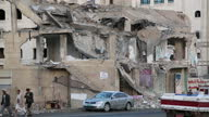 Exterior shots of rubble from a destroyed residential building and it's surrounding area following Saudi led airstrikes on March 20 2016 in Sanaa...