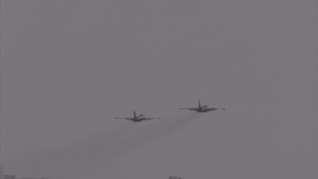 Exterior shots of Russian air force Sukhoi Su25 fighter jets taking off from Latakia air base en route to Syrian opposition targets on December 21...