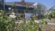 Exterior shots of LA's Staples Center with road closures in place and billboards advertising the Michael Jackson memorial concert on July 7 2009 in...