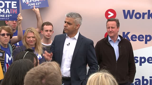 Exterior shots of Sadiq Khan speaking to crowds of students at Roehampton University at a Vote Remain rally on May 30 2016 in London England