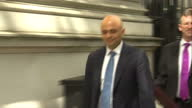 exterior shots of Sajid Javid MP Secretary of State for Culture Media Sport depart Downing Street onto Whitehall and comment about first Conservative...