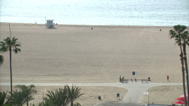 Exterior shots of Santa Monica beach with palm trees on February 22 2015 in Los Angeles California