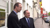 Exterior shots of Scotland's First Minister Alex Salmond arriving at the College of Europe being greeted by Professor Jorg Monar Rector of the...