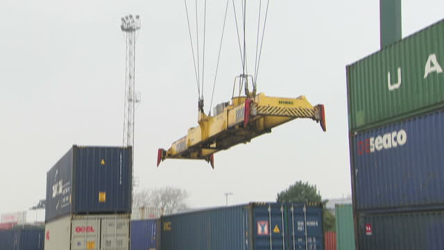 Exterior shots of shipping containers being moved around Southampton docks on 27 September 2017 in Southampton United Kingdom