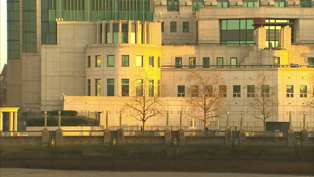 Exterior shots of SIS Secret Intelligence Service MI6 Vauxhall Cross Headquarters viewed from Millbank across the River Thames on December 29 2014 in...
