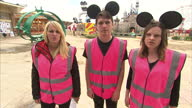 Exterior shots of staff in Banksy's Dismaland theme park saying 'Welcome to Dismaland end joy' on August 20 2015 in WestonSuperMare England