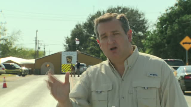 Exterior shots of Texas Senator Ted Cruz addressing the media in Sutherland Springs following the mass shooting attack on the town's First Baptist...