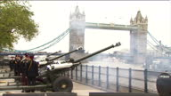 Exterior shots of the 21 Gun Salute at Tower Bridge as part of The Queen's Diamond Jubilee celebrations 21 Gun Salute at Tower Bridge on June 02 2012...
