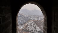 Exterior shots of the Badaling section of the Great Wall of China and snowcovered surrounding scenery Scenic shots of the Great Wall of China on...
