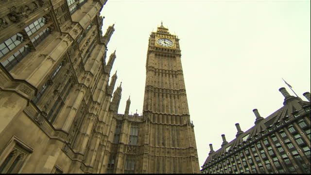 Exterior shots of the Big Ben clock tower and Houses of Parliament looking up from ground level on August 25 2015 in London England