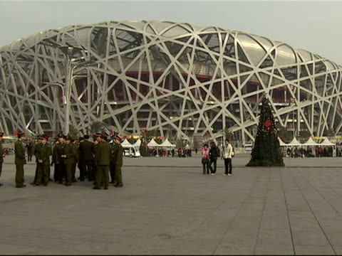 Exterior shots of the Birds Nest stadium used during the Beijing 2008 Olympics with visitors walking past it taking photos on February 9 2009 in...