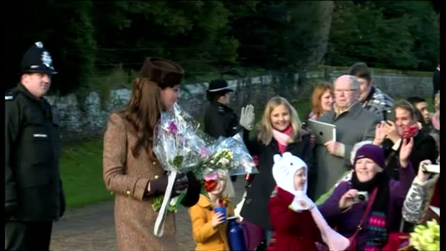 Exterior shots of the British Royal family leaving Sandringham Church after Christmas service including Catherine Duchess of Cambridge and Prince...