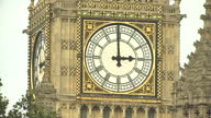 Exterior shots of the clock face on Elizabeth Tower as the minute hand passes 3 pm and the Big Ben bell chimes on the hour on 16 August 2017 in...