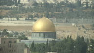 Exterior shots of the Dome of the Rock and walls of the Temple Mount on the Jerusalem skyline on July 22 2017 in Jerusalem Israel