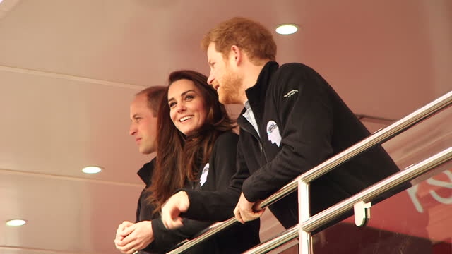 Exterior shots of the Duke and Duchess of Cambridge and Prince Harry pushing button to officially get the London Marathon underway A record number of...