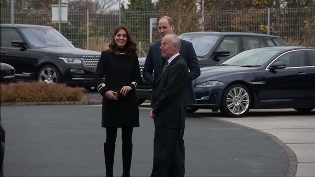 Exterior shots of the Duke and Duchess of Cambridge arriving at Jaguar Land Rover's Solihull Manufacturing Plant and greeting local officials and...
