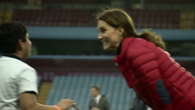 Exterior shots of the Duke and Duchess of Cambridge meeting coaches and children involved in the Coach Core programme taking part on activities on...