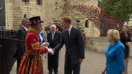 Exterior shots of the Duke and Duchess of Cambridge talk to General Lord Dannatt at the Tower of London and Prince Harry talking to a Yeomen of the...