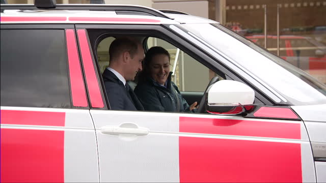 Exterior shots of the Duke and Duchess of Cambridge test driving two Land Rover Discovery cars at the Jaguar Land Rover Experience centre and Prince...