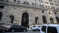 Exterior shots of the Federal Reserve Bank of New York located at 33 Liberty St New York NY 10045 in downtown Manhattan New York Shots pan across the...