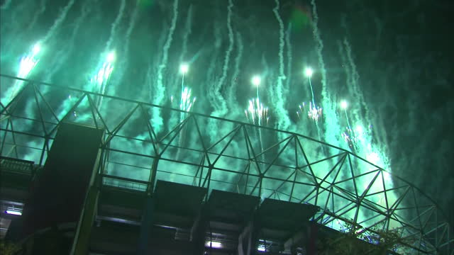 Exterior shots of the fireworks display at the final of the Rugby World Cup at Twickenham Stadium on October 31 2015 in London England