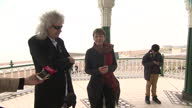 Exterior shots of the Green Party's Caroline Lucas introducing Brian May whilst campaigning ahead of the General Election on April 13 2015 in...
