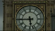 Exterior shots of the hands of the Great Clock of the Houses of Parliament also known as 'Big Ben' moving around the dial being wound to the correct...