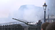 Exterior shots of the Honourable Artillery Company firing a 62gun salute at the Tower of London to mark the Queen's Sapphire Jubilee >> on February...