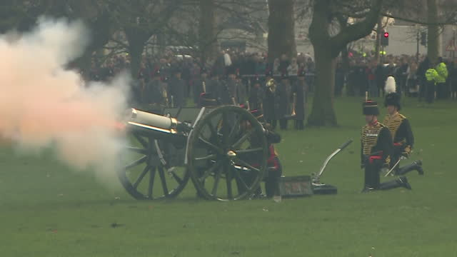Exterior shots of the King's Troop Royal Horse Artillery firing a 41gun salute in Green Park to mark the Queen's Sapphire Jubilee >> on February 06...