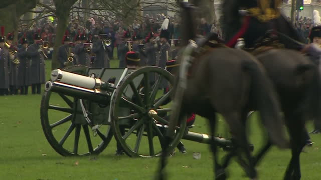 Exterior shots of the King's Troop Royal Horse Artillery preparing to fire a 41gun salute in Green Park to mark the Queen's Sapphire Jubilee>> on...