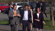 Exterior shots of the Liberal Democrat Leader Nick Clegg arriving at a Hospital during a campaign visit to Cornwall on April 09 2015 in Cornwall...