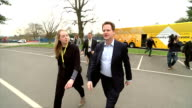 Exterior shots of the Liberal Democrats Leader Nick Clegg arriving at MidKent College whilst on campaign tour on April 13 2015 in Maidstone England