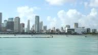 Exterior shots of the Miami skyline in Miami Florida on 012615 Various wide shots of the Miami skyline on a sunny day Various wide shots of the Miami...