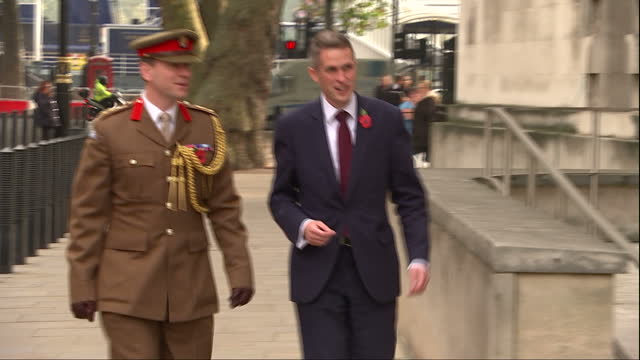 Exterior shots of the Ministry of Defence building and newly appointed Secretary of State for Defence Gavin Williamson arriving and being greeted by...