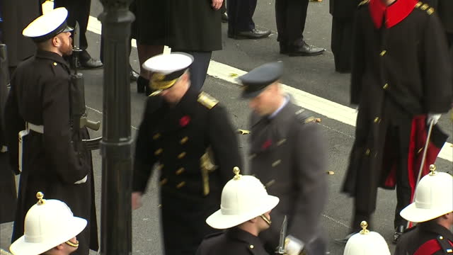 Exterior shots of the National Anthem being played and members of the Royal family departing after attending Remembrance Sunday commemorations at the...
