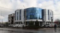 Exterior shots of the Organization for Security and Cooperation in Europe Special Monitoring Mission office and Lugansk Regional Hospital on April 24...
